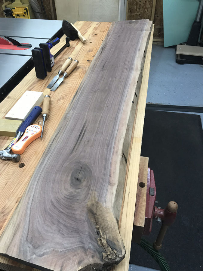 Photo of Walnut Slab Sitting Bench