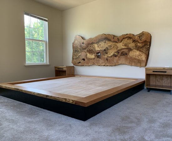 Maple Burl headboard with it's platform bed