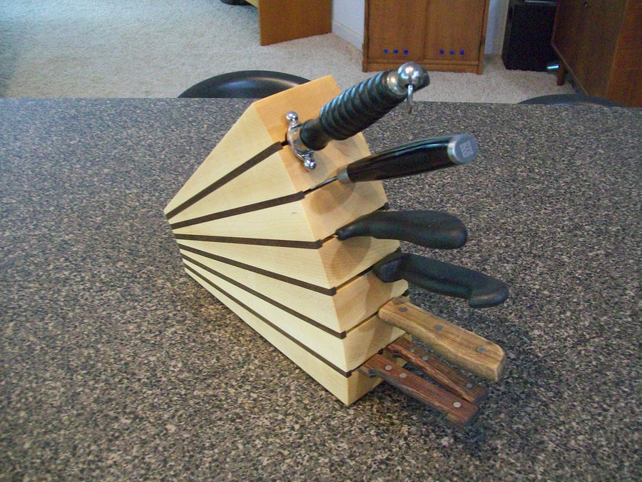 Photo of Knife Block In Maple And Walnut