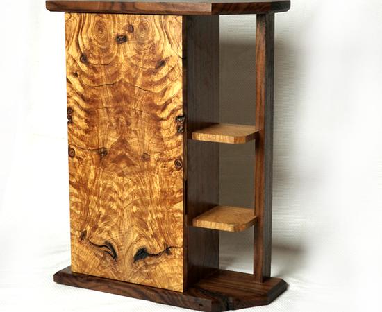 MCM Rustic Walnut & Ash Crotch Whiskey Cabinet