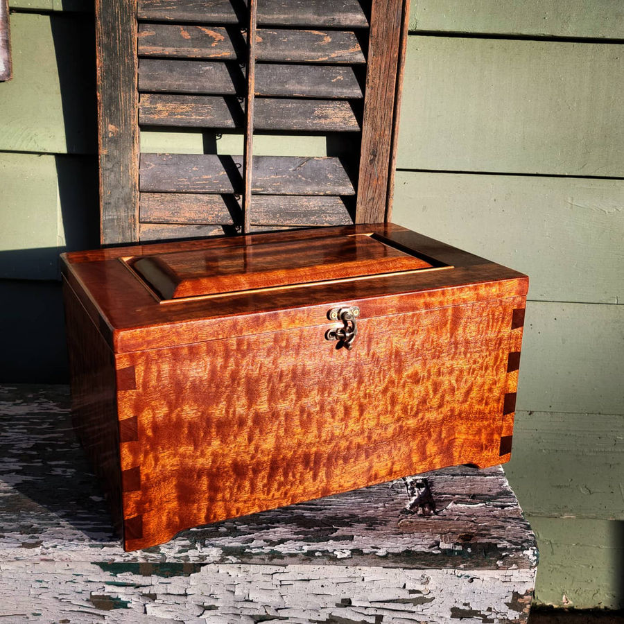 Photo of Pair of Keepsake Boxes in Pomelle Figured Sapele