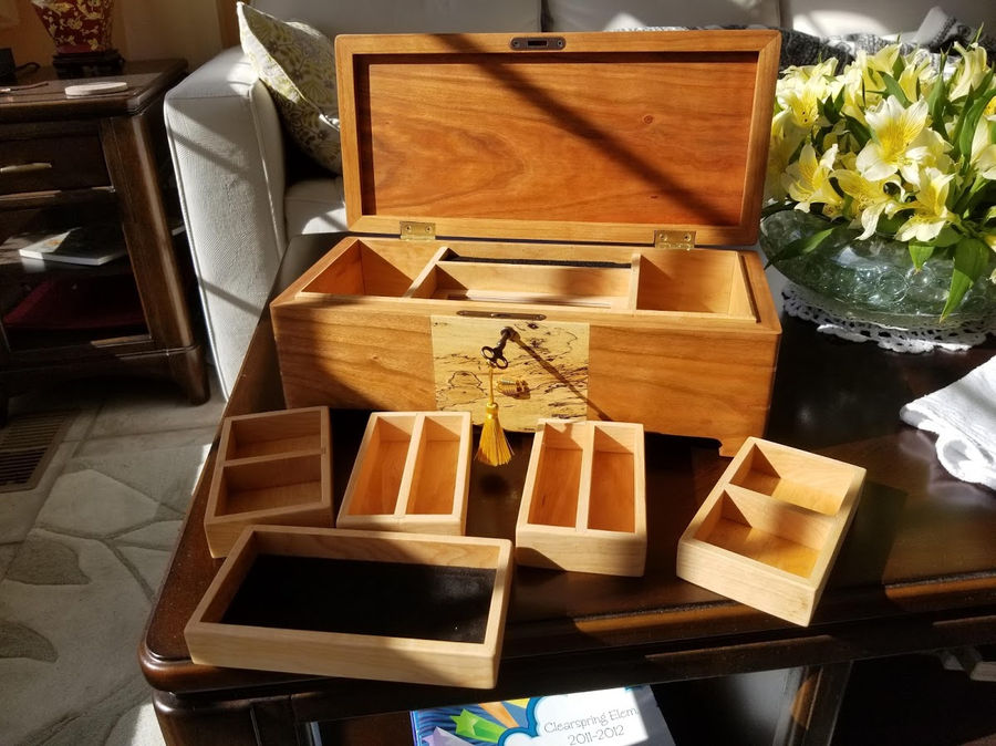Photo of Cherry, Spalted and Birdseye Maple Music/Jewelry Box