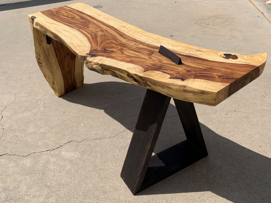 Photo of Rosewood And Charred Oak Bench