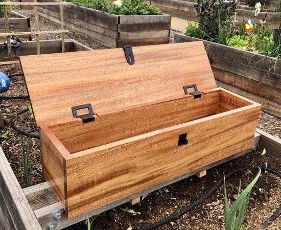 African Mahogany Garden Tool Box