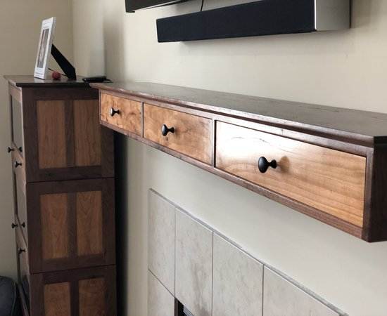 Walnut And Cherry Fireplace Mantel With Drawers