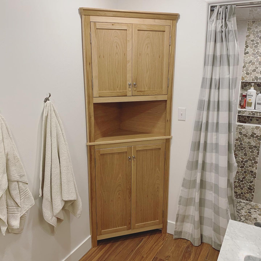 Photo of White Oak Corner Cabinet