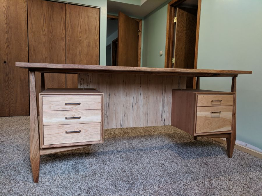 Photo of Cherry And Spalted Maple Executive Desk