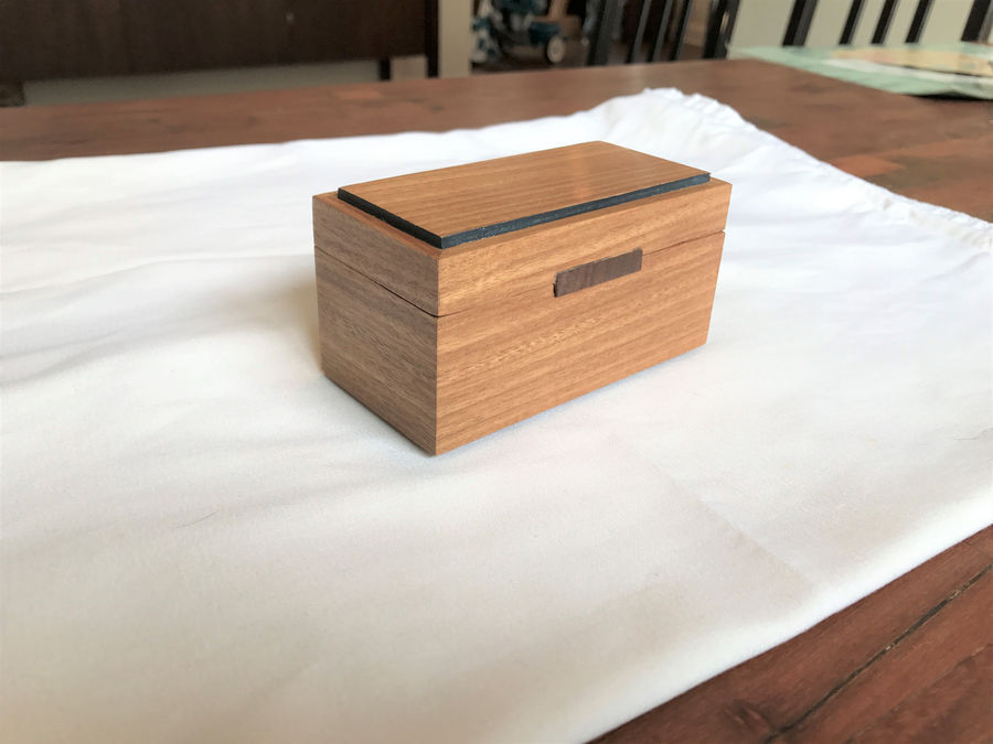 Photo of Box 37 - Afromosia With End Grain Walnut Pulls