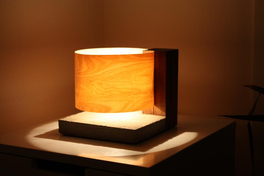 Photo of Birch Veneer And Concrete Table Lamp