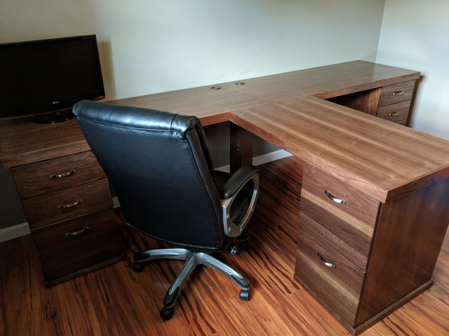 Photo of Walnut T Desk With File Cabinets