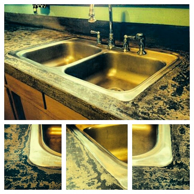 Photo of Resurfaced Kitchen Counter. From Formica To Stone.