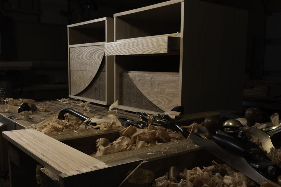 """Photo of """"Swoop"""" End Grain Nightstand Set w/ Hidden Drawer"""