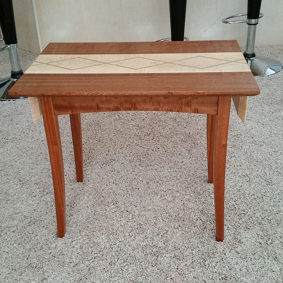 Photo of Sapele Side Table With Curly Maple Runner