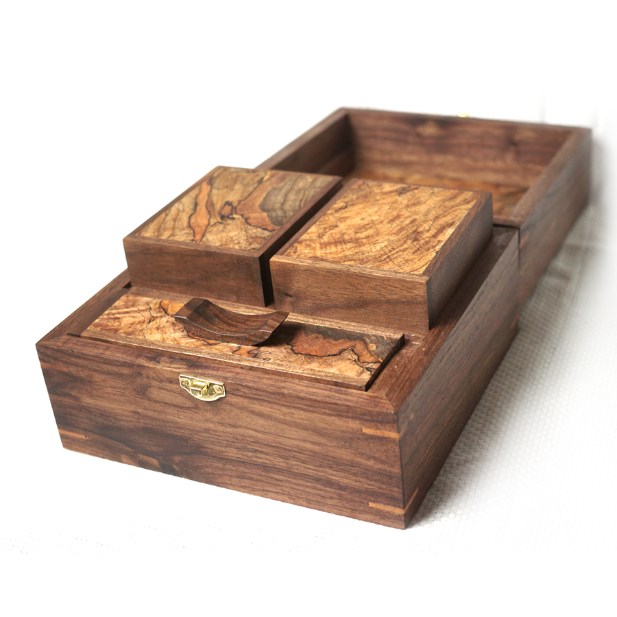 Photo of Maple burl and Walnut Deck Box