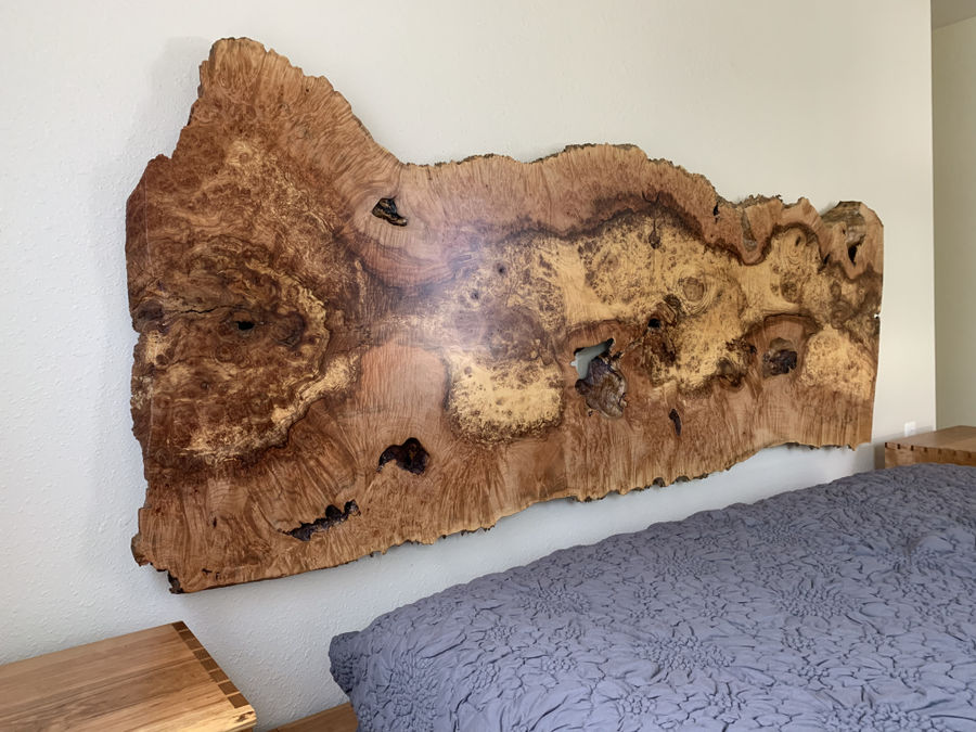 Photo of Maple Burl headboard with it's platform bed