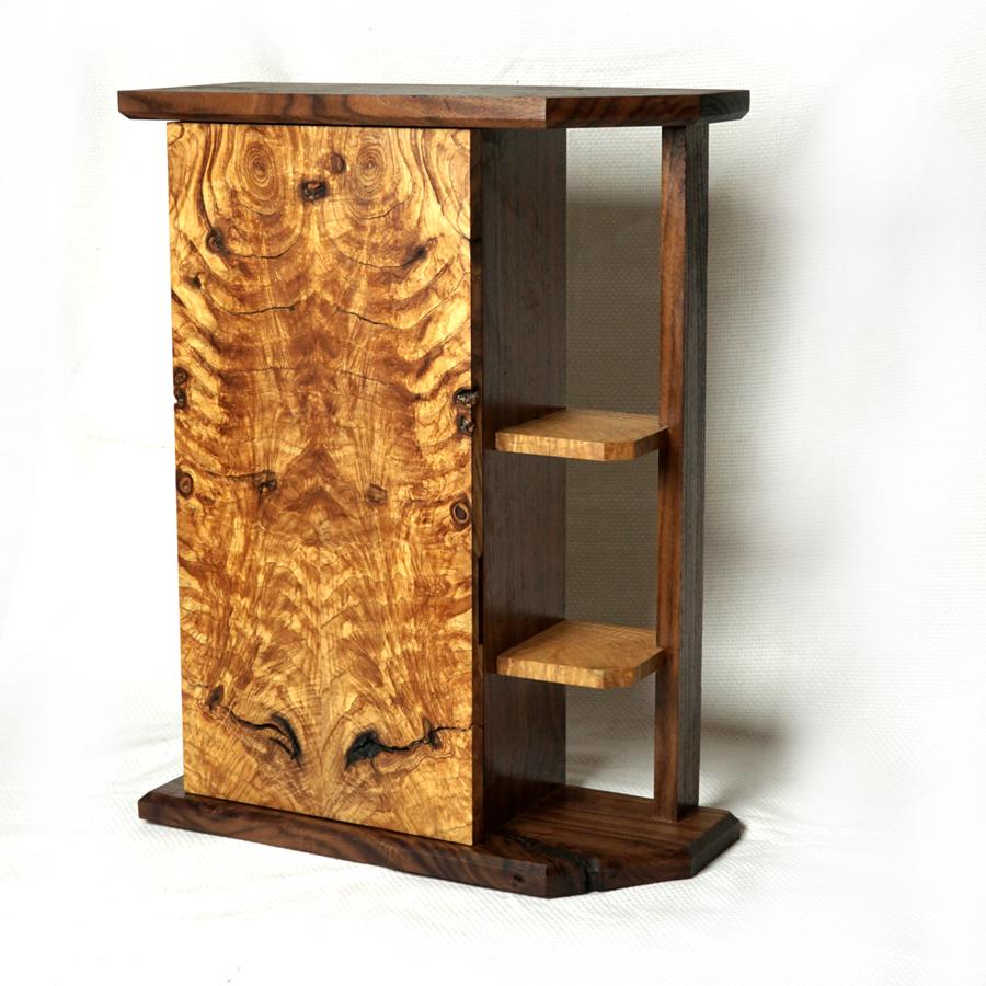 Photo of MCM Rustic Walnut & Ash Crotch Whiskey Cabinet