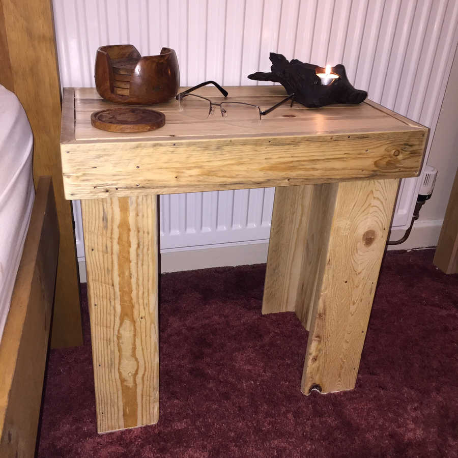 Photo of Rustic Bedside / End Table. Reclaimed Wood