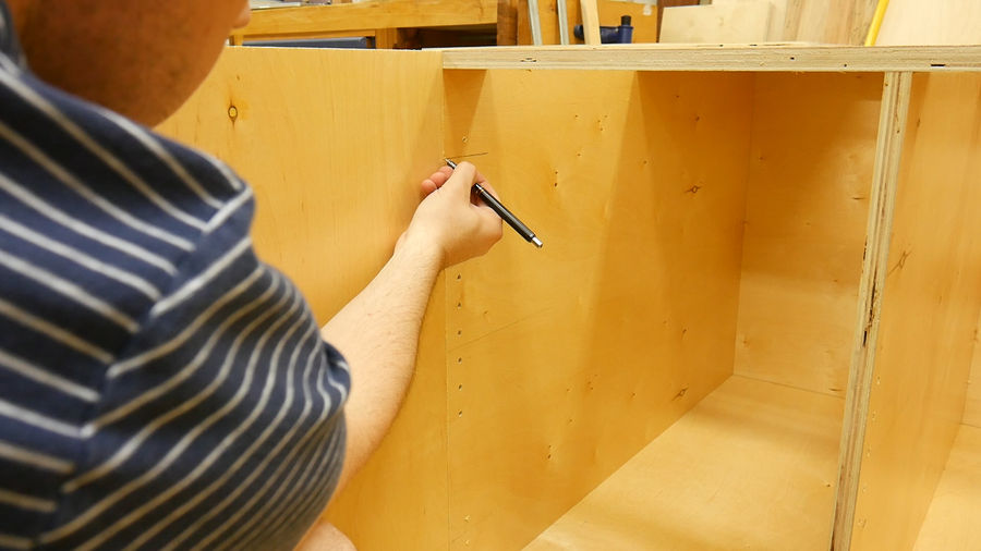 Next I Line Up The Center Lines With The Template That Came With The Hinges  And Using My Scratch Awl, I Make A Mark On The Door.