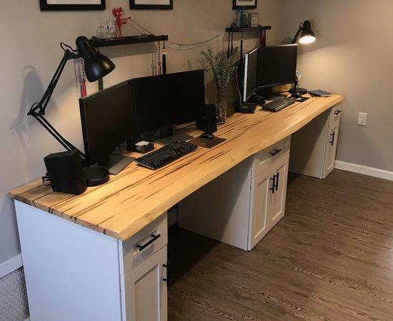 10' Ambrosia Maple Live Edge Dual Desk
