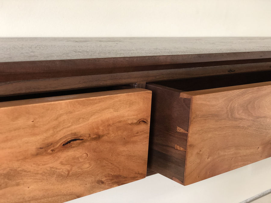 Photo of Walnut And Cherry Fireplace Mantel With Drawers