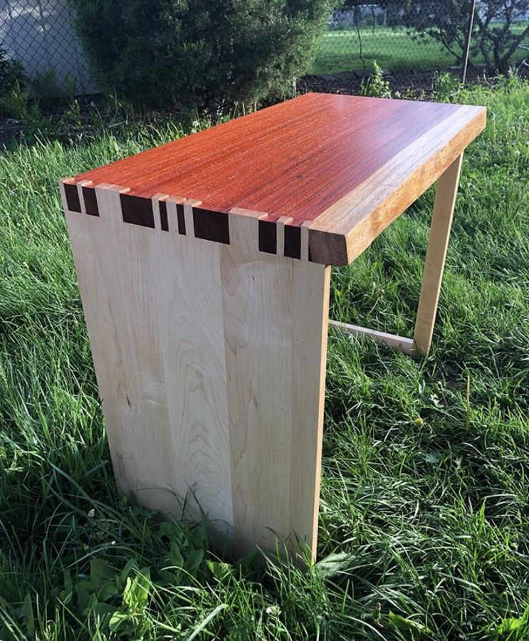 Photo of Live Edge Padauk Slab Desk