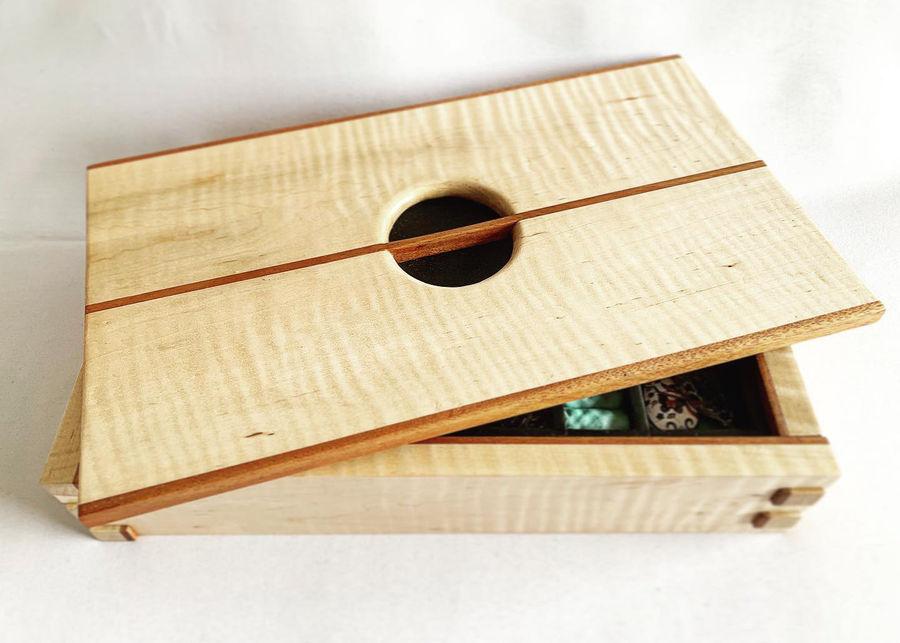 Photo of Curly maple and mahogany jewelry box