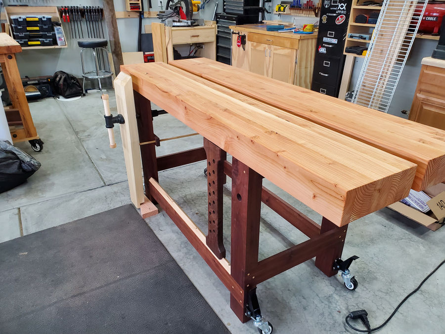 Photo of Psuedo-Roubo walnut and pine workbench