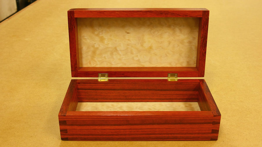 Photo of Padauk & Quilted Maple Dovetailed Box