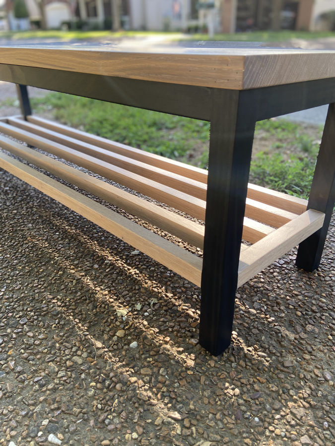 Photo of White Oak Bench with storage
