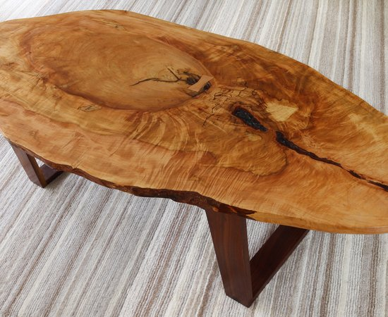Silver Maple And Walnut Live Edge Coffee Table
