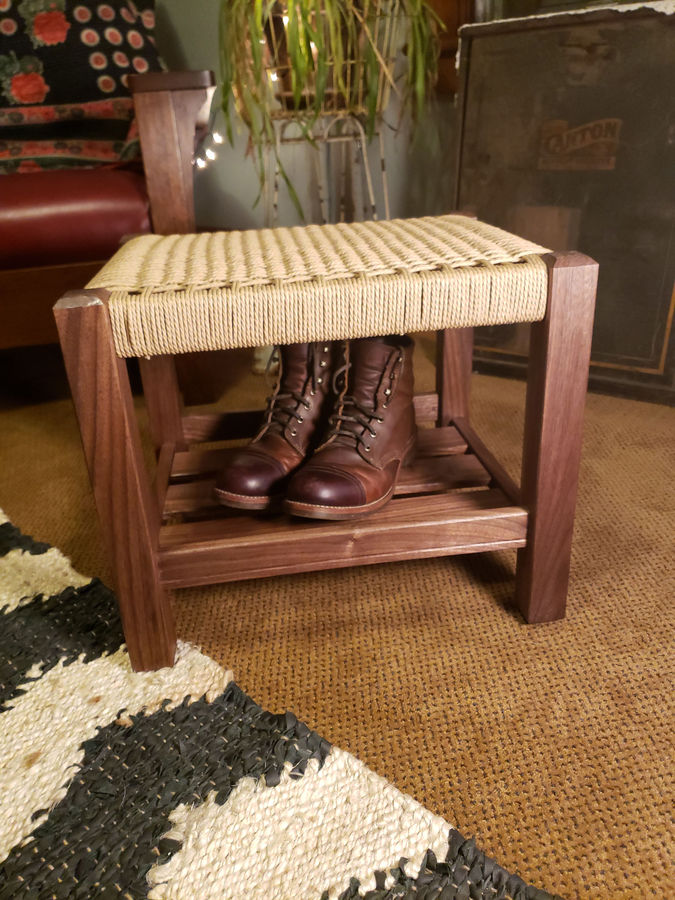 Photo of Walnut and Danish Cord ottoman
