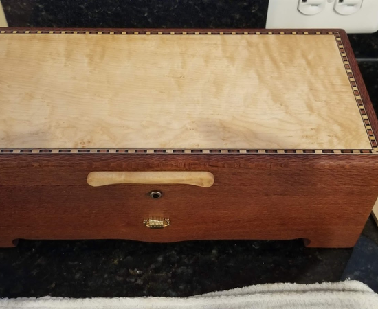 Music/Jewelry Box In Leopardwood With Reuge 36 Note Movement