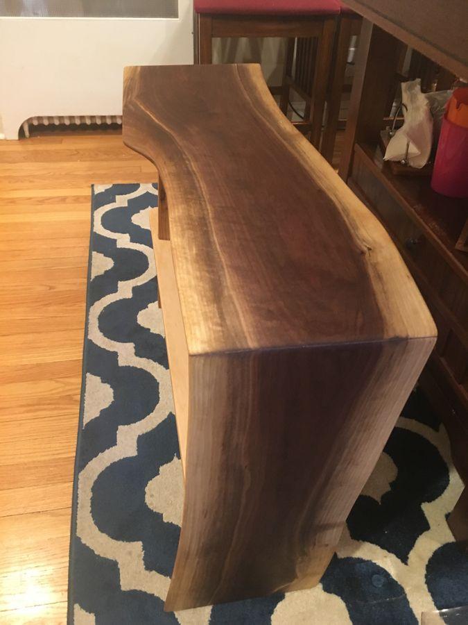 Photo of Live Edge Walnut Waterfall Dining Bench