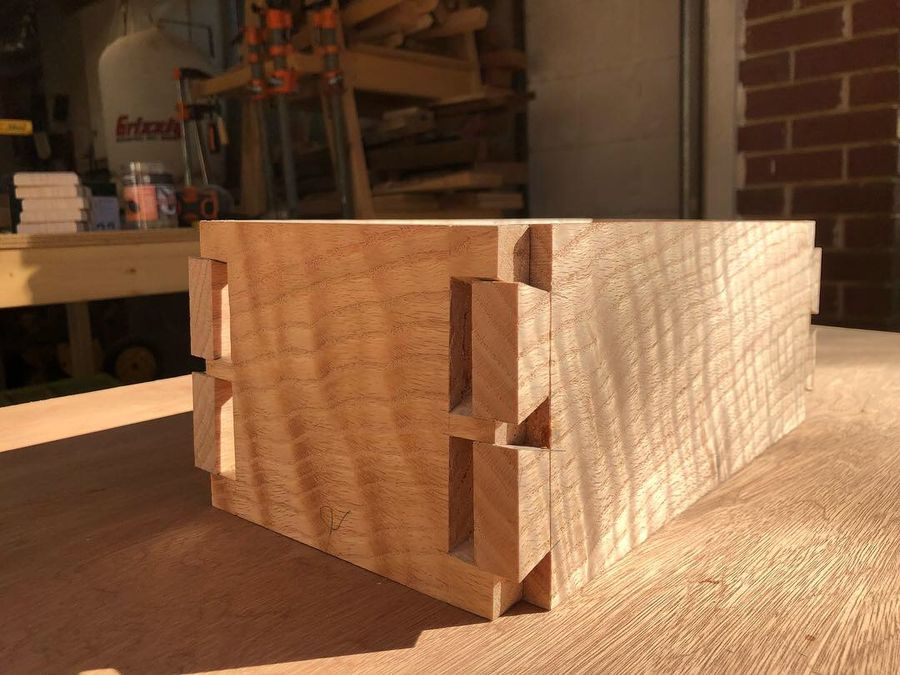 Photo of Curly Red Oak Dovetailed Box