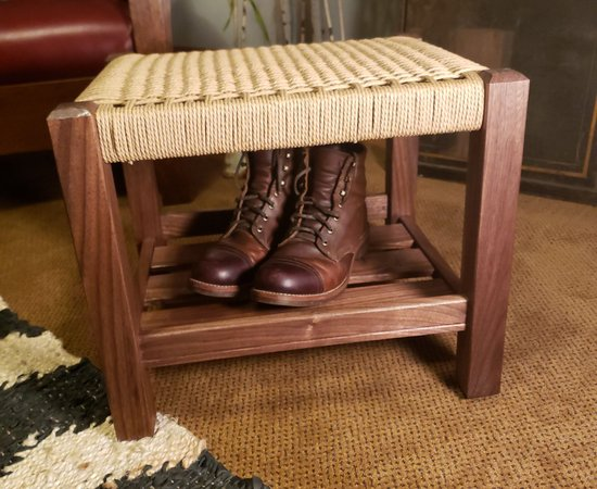 Walnut and Danish Cord ottoman