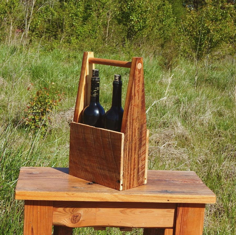 Photo of Wine Carrier And Serving Tray From Reclaimed Wood