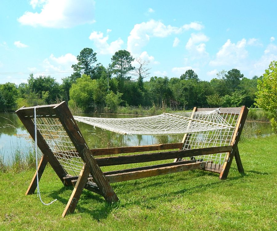 Photo of Reclaimed Wood Hammock Stand