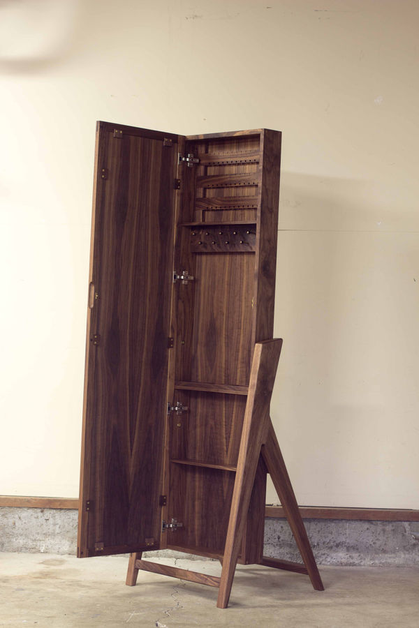 Photo of Mid-Century Modern Jewelry Armoire & Standing Mirror