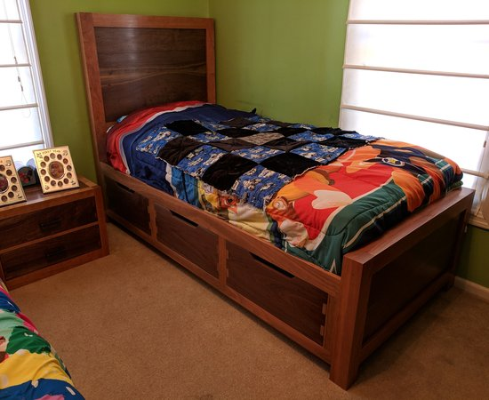 Walnut and cherry storage bed