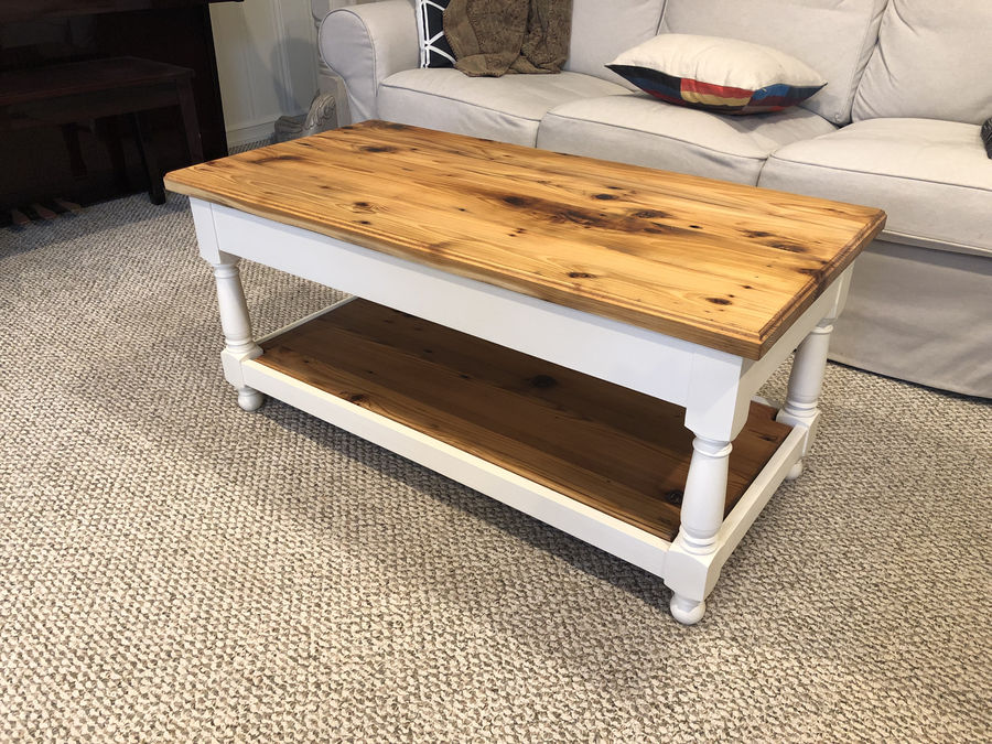 Photo of Coffee Table With Reclaimed Top And Turned Legs