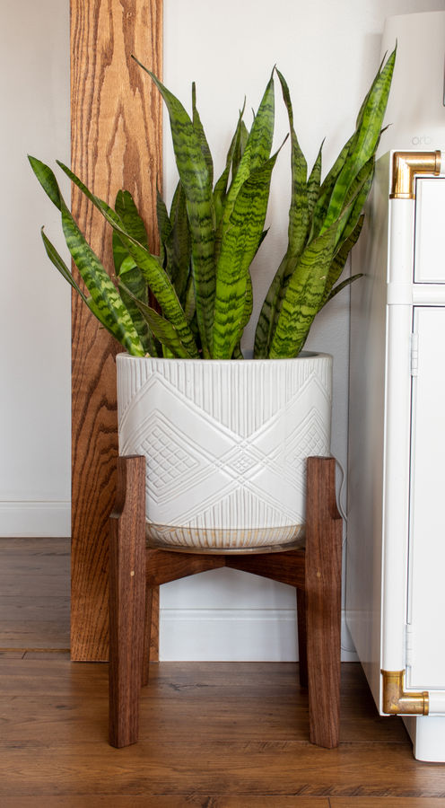 Photo of Walnut and Brass Plant Stand