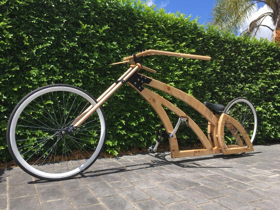 Photo of Badass Handmade Wooden Chopper Bike