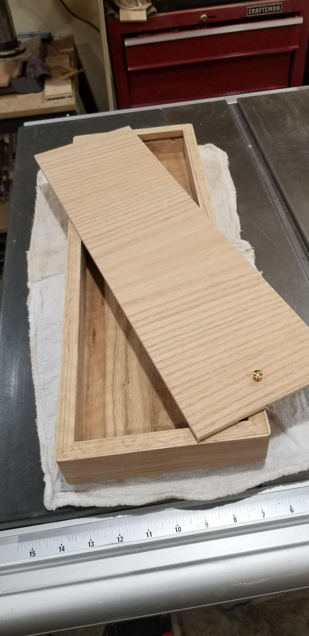 Photo of Oak StrongBox with Walnut Inlay and Secret Compartment
