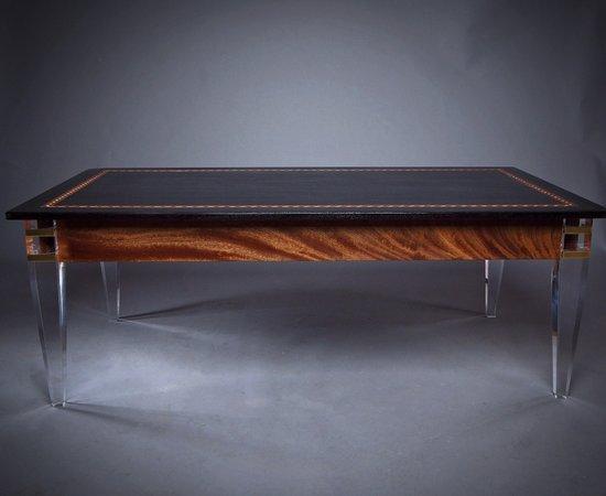 Ebonized Walnut Coffee Table With Brass Banded Acrylic Legs