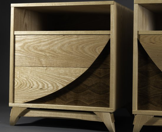 """Swoop"" End Grain Nightstand Set w/ Hidden Drawer"