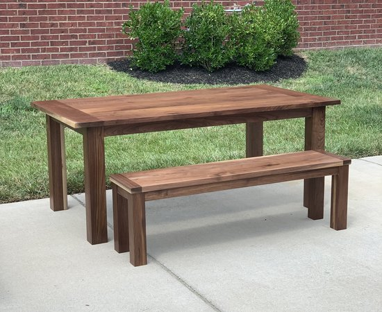 Walnut table and Bench