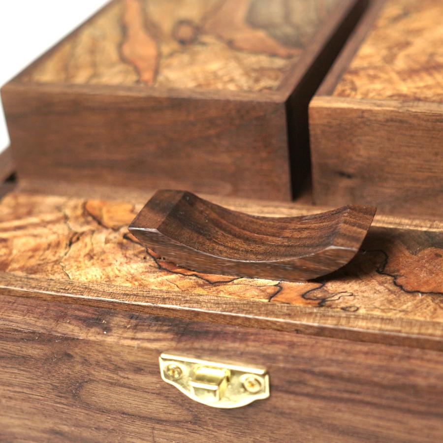 Photo of Maple burl and Walnut Deck Box