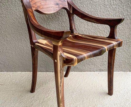 Contrast walnut low back chair