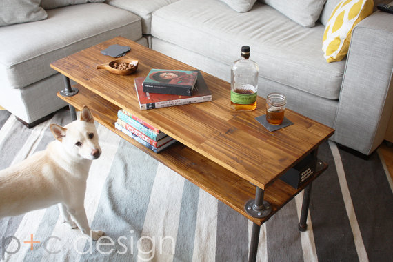 Photo of Two Level Wood + Pipe Coffee Table