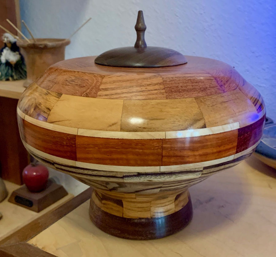 Photo of Decorative Lidded Vessel in a Variety of Wood Types